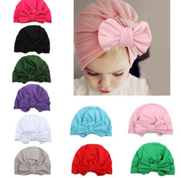 Wholesale Bunny Beanie Baby - INS Baby Bow Hat Bunny Ear Caps Europe Style Turban Knot Head Wraps Hats kids Soft Knot Hat Beanie Cap 10 color KKA2227