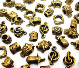 Wholesale Antique Bronze Heart Bead - 100pcs mixed Antique Bronze Beads for Jewelry Making Loose Alloy Charms DIY Big Hole Beads for European Bracelet Wholesale in Bulk Low Price