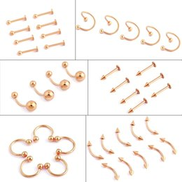 Wholesale Tongue Piercing Rings Jewelry - 50pcs gold Titanium Stainless Steel Eyebrow Nose Lip Captive Bead Ring Tongue Piercing Tragus Cartilage Earring Body Jewelry