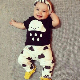 Wholesale Clouds Shirt - 2016 Spring Newborn Baby's Sets T shirts+Pants 2pcs Clouds Rain Newborn Baby Girl Clothes 0-3Yrs Baby Girl Boy Clothes