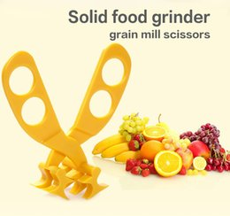 Wholesale Grain Grinders - Baby complementary solid food scissors grinders grain mill kids tool cutter crusher 50pcs lot