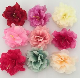 wedding hair corsage Promo Codes - 8cm Artificial Silk Peony Flower Heads Simulation Flowers For DIY Hair Dress Corsage Accessories Home Wedding Decoration HJIA209