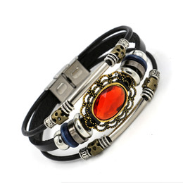 Wholesale Gemstone Wristbands - Newest Gemstone Charm Bracelets For Women Jewelry Multilayer Alloy Beaded Stainless Steel Leather Bracelets Wristband Watch buckle design