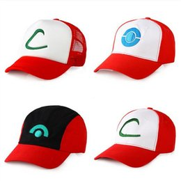 Wholesale Pokemon Hats - New 4 style Poke Ash Ketchum Trainer Hat Costume Cap Adult Mesh Hat Trucker hat caps Free Shipping