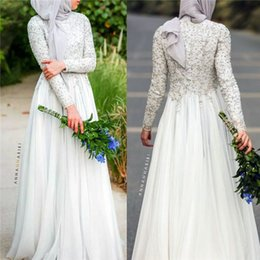 Wholesale Hijab Wedding Dresses Plus Size - Modest Beaded Lace Applique Long Sleeve Muslim Country Style Wedding Dresses 2016 Fall High Neck Ivory Chiffon Arabic Bridal Gown with Hijab