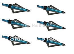 Wholesale Hunting Free Shiping - 100GR Blue 18pcs hunting arrow head broadheads 3-blades archery arrow head universal for compound or crossbow bow free shiping