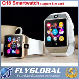 Wholesale High Quality Touch Screen Watch - Factory Price!!! Smart Watch Q18 Bluetooth Wearable Curved Screen Touch Smartwatch High Quality Support For Android and IOS Phone Wristwatch