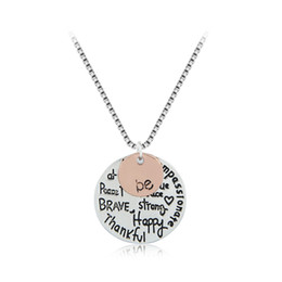"Wholesale Inspirational Charms - Two-Tone ""Be"" Graffiti Initial Letters Charm Necklace Silver Rose Gold Plated Pendant Inspirational Necklace Gift For Women Girl"
