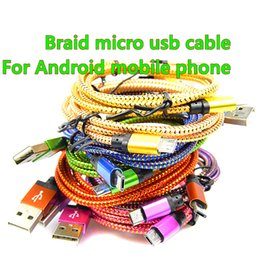 Wholesale Universal Android Tablet Charger - 25cm 1M 2M 3M Micro USB Cable Charger Data Sync Nylon USB Cable For samsung S6 S7 note Android Smart Phone for tablet PC
