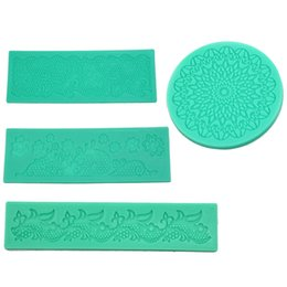 Wholesale Silicone Lace Mats - Wholesale- 3D Flower Lace Embossed Silicone Mold Mould Fondant Cake Decoratiion Mat Kitxhen Baking Decorating Tool 3 Styles