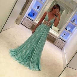 Wholesale Simple Purple Prom Dress - 2017 Free Shipping Prom Dresses V Neck Lace Appliques Spaghetti Straps Vestidos de Noiva Evening Gowns Hot Sale
