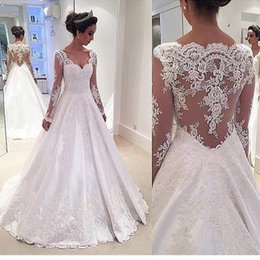Wholesale Chinese Gown Wedding - 2017 Sleeved Wedding Dresses A-line Long Illusion Sexy Back Satin Appliques Lace Sweetheart Bridal Gowns Garden Chinese Dress For Brides
