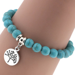 Wholesale Invisible Life - Mix style hand made blue turqoise bohemain plam Cross music symbol tree of life moon bracelet