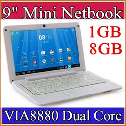 "Wholesale Mini Laptop Hdd - 9 inch Mini laptop VIA8880 Netbook Android 4.2 laptops VIA8880 9"" Dual Core Cortex A9 1.5Ghz 1GB RAM 8GB ROM Netbook B-BJ"