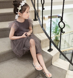 Wholesale Korean Wearing Dresses - 2016 Summer New Girl's Dresses Korean Children Clothing Lovely Princesss Dress Short Sleeved Solid Color Gauze Tutu Dress Party Wear 9327
