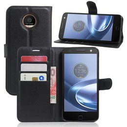 Wholesale Play Wallets - For Motorola Moto Z play Fashion Litchi Pattern PU Leather Wallet Stand Case Cover with Card Slot+Free Touch Pen