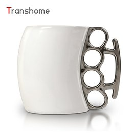 Wholesale Coffee Spoons Porcelain - Wholesale- Transhome Creative Boxing Coffee Mug Ceramic With Brass Knuckle Novelty Personality Porcelain Creative Fist Mug For Gifts 300ML