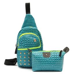 Wholesale Outdoor Pillows Blue - Wholesale-Unisex Crocodile Leather Chest Bag Back Pack Outdoor Hiking Sport Crossbody Shoulder Bags Men Women Bag set Rucksacks 2016 Hot