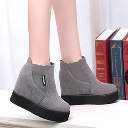 Wholesale Korean Women Flat Ankle Boots - 2016 new Korean stealth increased within thick soles shoes female students warm cotton boots autumn and winter boots
