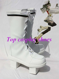 Wholesale Miku Cosplay White - Wholesale-Freeshipping Vocaloid Senbonzakura Hatsune Miku geta PU Cosplay Boots shoes white custom-made for Halloween Christmas festival