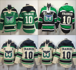 Wholesale Old Cheap - Cheap Hartford Whalers hooded Jersey #10 Ron Francis Old Time Hockey Hoodies Sweatshirts Size M--3XL