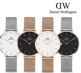 Wholesale Mesh Watches - 2017 top luxury brand Daniel women men Wellington's fashion dw Lovers women steel mesh gold mens watches montre femme relojes