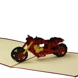 Wholesale Motorcycle Papers - 20Pcs 3D Motorcycle Model Wedding Greeting Cards Carving Paper Handmade Card Birthday Christmas Greeting Card Wedding Invitation
