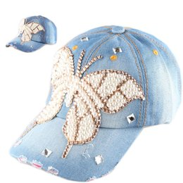 Wholesale Pearls Baseball Cap - Full simulated Pearl Baseball cap Butterfly Design Denim Sports Hat Rhinestone Crystal Snapback Caps For Women hip hop Hats