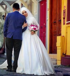 Wholesale Wedding Collar Shoulder - 2017 New Muslim High Collar Long Sleeves Wedding Dresses Lace Appliques Dubai Saudi Arabic Vintage Garden Cheap Robe De Soiree Bridal Gowns