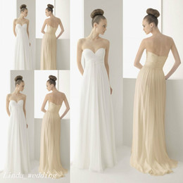 Wholesale Casual Beach Wedding Dresses Ruched - Simple Beach Casual Wedding Dresses Beautiful A Line Sweetheart Chiffon Floor Length Long Bridal Party Gowns
