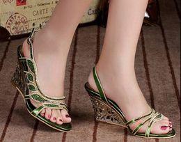 Wholesale Wedge Studded - big size 34-44 hot sale 2016 New arrivals high heels gladiator sandals studded & rhinestones women summer wedges party sandalias female shoe