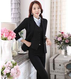 Wholesale Business Women Formal Suits - Wholesale-New Professional Formal Pantsuits Ladies Business Women Suits 3 pieces With Jackets + Pants + Vest Female Trousers Sets Outfits