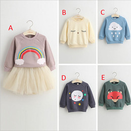 Wholesale Sweaters Wholesale Design - Girls INS Fox rainbow letter sweater 2016 new 5 design children ins Flaky clouds Pure cotton layer Long Sleeve Sweaters Pullover B