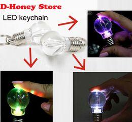 Wholesale Mini Flashing Led Keychain - 2016 Plated Silver Creative LED Flash Lights Mini Bulb Torch Chain Keyring Xmas Gift Cute Keychain Keyring Lamp
