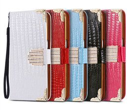 Wholesale Diamond Wallet Iphone Case - Luxury Bling Diamond Buckle Lizard Leather Flip Wallet Cover with Card Slot Holder for Iphone 5 6 6s plus 7 7plus Samsung S6 S6 edg