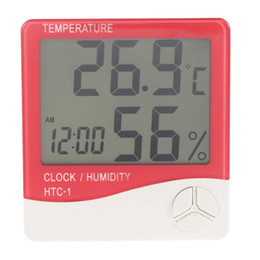 Wholesale Digital Electronic Thermostat - Termometro Digital LCD Thermometer Hygrometer Electronic Temperature Humidity Meter Clock Weather Station In outdoor Thermostat