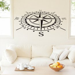 Wholesale Background Design For Tv Wall - Ocean Navigation Compass Wall Decals Removable Vinyl Art Stickers Home Decor Living Room Wall Stickers for TV Background