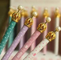 Wholesale Korean Crown Pen - Creative Metal Crown Dots design Mechanical pencil Korean Style Princess Pen Free shipping Wholesale