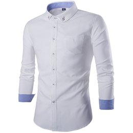 Wholesale Turndown Collar Dress Shirt - Wholesale-New Arrival 2016 High Quality Classic Twill Business Men's Shirts Long Sleeve Turndown Collar Dress Shirt