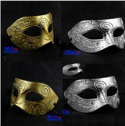 Wholesale Silver Party Masks - Retro Roman gladiator Halloween party maskse man woman children Mardi Gras Masquerade maske Gold and Silver available