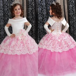 Wholesale Toddler Formal Wear Pageant Dress - Pink Puffy Toddler Ball Gown Flower Girl Dresses 2016 Off The Shoulder Lace Pageant Dress For Little Girls Vestidos De Comunion Formal Wear