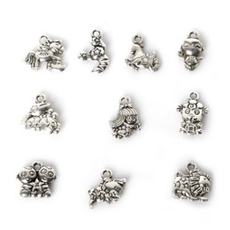 Wholesale Wholesale Metal Sheep Charms - Free shipping Wholesale 111pcs Mixed Antique Silver Plated Zinc Alloy Sheep Tiger Charms Pendants DIY Metal Jewelry Findings jewelry making