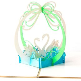 Wholesale Pop Up Love Cards - Handmade Creative Love Swans 3D Pop Up Wedding, Valentine's Day, Happy Birithday Greeting Cards free shipping