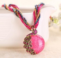 Wholesale Green Orange Statement Necklace - 2016 Hot Sale Fashion Summer Style Glass Cabochon Statement Necklace for Women Long Strip Pendant Necklaces Vintage Jewelry ZZS100