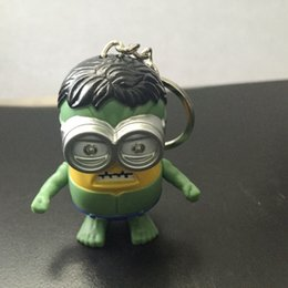 Wholesale Minion Led - COS The hulk minions Led keychain,The avengers alliance Keyrings with sound,super hero keychain