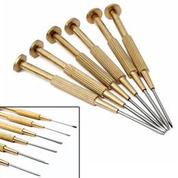 Juego de destornilladores de precisión online-Kit de destornilladores de reloj de precisión 6pcs / Lot Jewerlers Kit de reparación de plano Phillips herramientas La mejor calidad para relojero