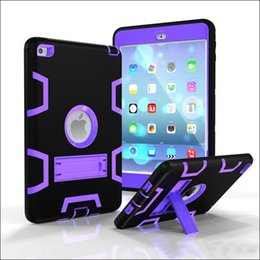 Wholesale Mini Ipad Case For Kids - 3 in 1 Shockproof kids PC + Rubber Hybrid Robot Protect Screen Protector Heavy Duty With Stand cover case for ipad mini air pro MQ30