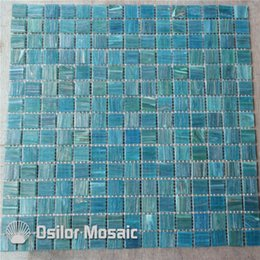 Wholesale Mosaic For Pool - glass mosaic tile for bathroom and kitchen swimming pool wall tile 20x20mm 4 square meters per lot