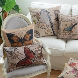 Wholesale Elegant Cushions - Free shipping gift elegant retro bird butterfly bee flower pavilion pattern Cushion Cover home cafe hotel boat decorative throw pillow Case