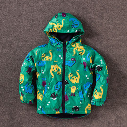 Wholesale Boys Rain Jacket - Fashion Cute Kids boys dinosaur Wind Rain Jacket Hooded Long Sleeve Windbreak children Waterproof Jackets Ourwear Coat winter warm coat C-2